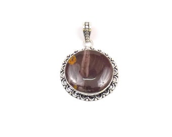 Purple Agate Pendant - Handmade Round  - Handmade Pendant with Silver Rhodium Plated - Silver Oxidized Pendant (FJ31334)