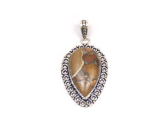 Natural Agate Pendant Brown color - Handmade Pear  - Handmade Pendant with Silver Rhodium Plated - Silver Oxidized Pendant (FJ31328)