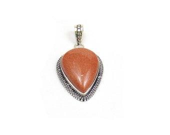 Natural Agate Pendant color - Handmade Pear  - Handmade Pendant with Silver Rhodium Plated - Silver Oxidized Pendant (FJ31329)