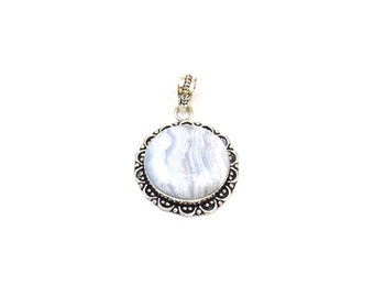 Lace Agate Pendant - Handmade Round  - Handmade Pendant with Silver Rhodium Plated - Silver Oxidized Pendant (FJ31333)