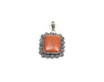Red Agate Pendant - Handmade Rectangle shape  - Handmade Pendant with Silver Rhodium Plated - Silver Oxidized Pendant (FJ31336)