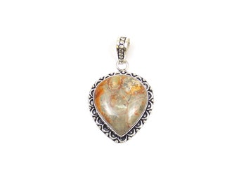 Natural Agate Pendant Brown color - Handmade Pear  - Handmade Pendant with Silver Rhodium Plated - Silver Oxidized Pendant (FJ31330)