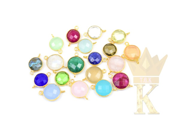 Wholesale LOT Of Hot Multi-Shapes Natural Aqua Chalcedony 24K Gold Electroplated Single /& Double Bail Gemstone Connector