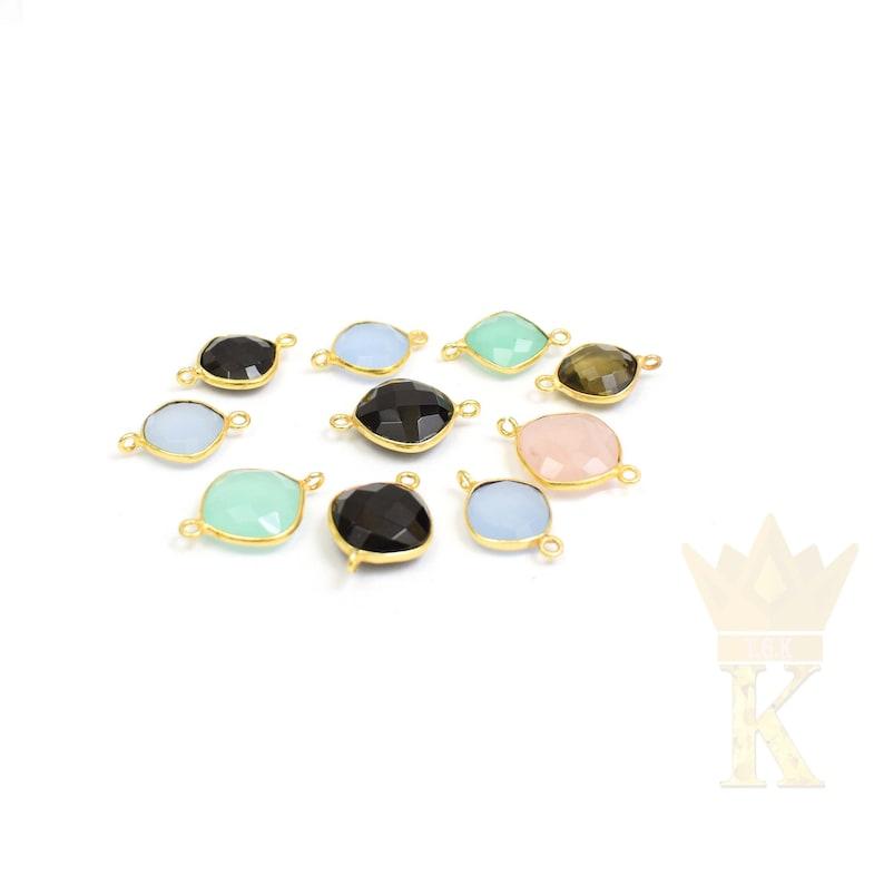 Cushion Shape Semi Precious Gemstone Bezel Connector Gold Plated Lot Connectors