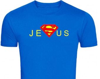 Superman Jesus T Shirts Cool Christian Shirts Christian Bible Saying Shirts Religious Symbol Christian T Shirt Men's