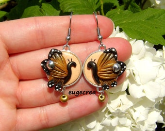Earrings butterflies with polymer clay