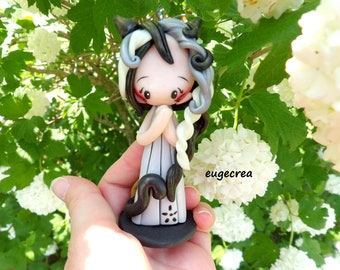 Figurine little girl cat with polymer clay
