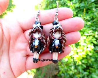 Doll steampunk stainless steel and polymer clay earrings