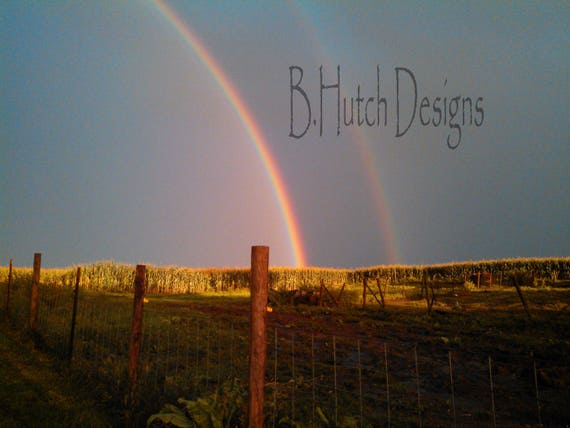 Double Rainbow Digital Download Nature Photography Farm Etsy