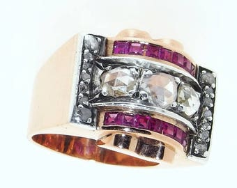French Art Deco / Retro 18K Gold Ruby Diamond Ring, Impressive and Heavy 15.93g