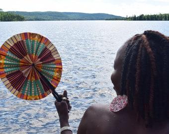 African Print Hand Fan.