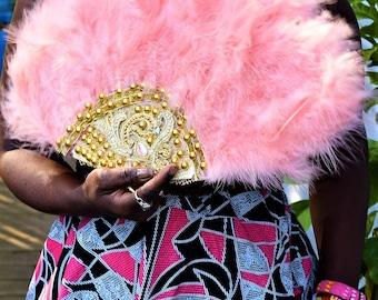 Luxury Wedding Hand Fan, Fluffy Feather Decorative Hand Fan.