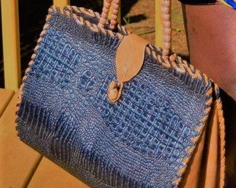 Alligator  Bag, Handmade Alligator handle Bag.