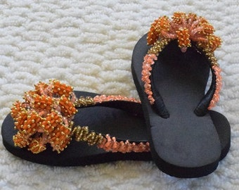 African Hand Beaded Sandals, Women's Sandals, Colorful Sandals.