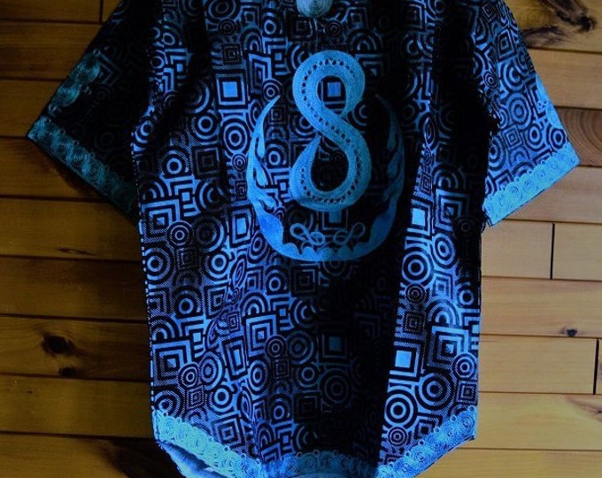 African Print Embroidery Men's Shirt, Embroidery Men's Clothing.
