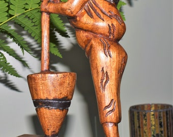 Hand Carved African Woman With Child Pounding Rice.