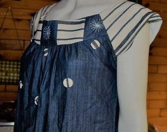 African Country Clothes Women's Denim Mix Dress