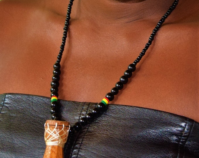 Beaded necklace with carved wooden drum pendant, Unisex.