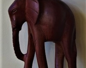 Hand Carved African Woman With Child Pounding Rice, Elephant & Sitting Lion.