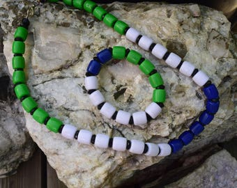 Hand Made Bead Necklace with Sierra Leone Colours with Braclet
