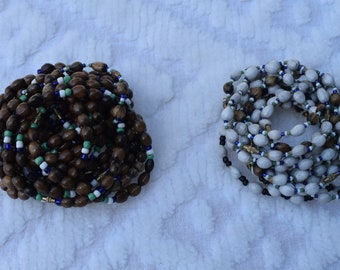 Unisex Coffee Beads Bracelets, Natural Bracelet. Five in Set.