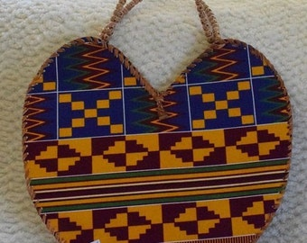 Ankara Print Wrapped Leather Handbag