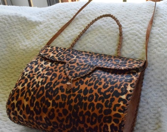 Leopard Leather Hand Bag, Leather Hand Bag, African Print Hand Bag