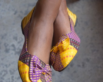 Ankara Print Shoes, African Print Shoes, Handmade Ballerina Fabric Shoes