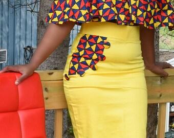 Ankara Print Suit, African Print Suit, Handmade Skirt, Top