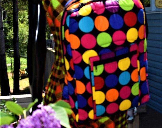 African Print School Bag, Pack Sack, Back Pack. Handmade Quilted Bag Lined.