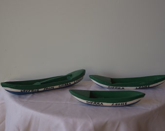 Three hand carved African Boats, Traditional Boat,
