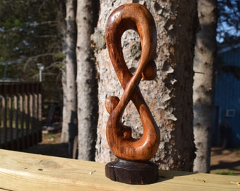 Infinity Wood Carving, Eight Symbol Wood Carved
