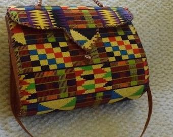 multicolor Ankara Print Leather Handbag, Leather Hand Bag, African Print Hand Bag