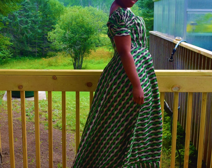 Classy Women's Dress Long One Shoulder Dress, African Print.
