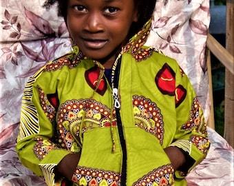 Children's Sportswear, Unisex Digital Print Long Sleeve Hoodie & Short Set, Dashiki Print Suit.