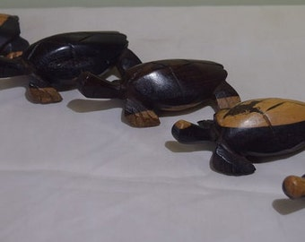 Wood Carved Turtle Family. Hand Carved Turtle Set.