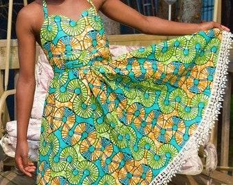 Vibrant Fun Dress, Girl Summer & Vacation Dress, open back dress.