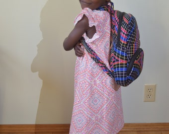 Hand made quilted cotton/nylon pack sack style school bag.