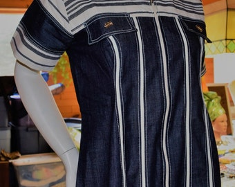 African Denim mix Dress, Denim Dress, Country Style Dress.