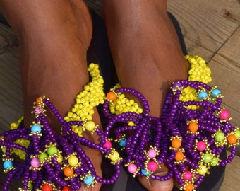 Hand Beaded Women's Sandals, Bamboo Colorful Sandals Vacation Sandals.