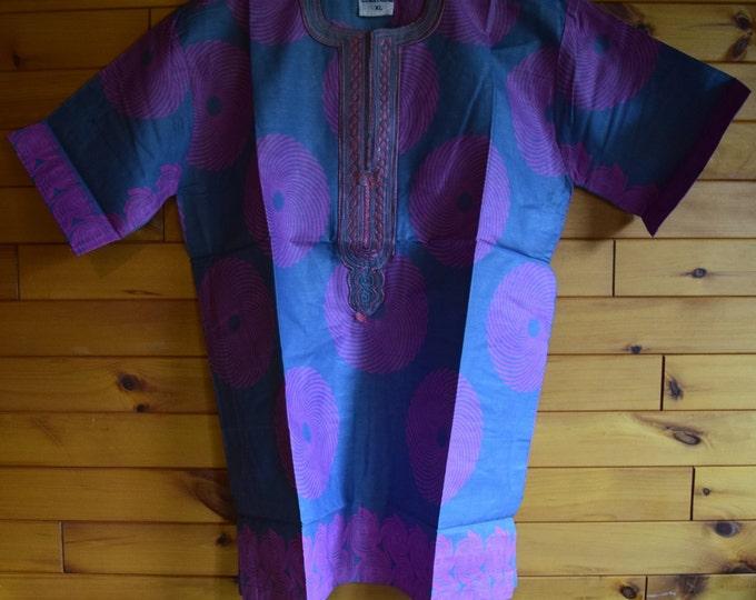 African Style Embroidered Men's Shirt, Ankara Print Infinity Design Dress Shirts.