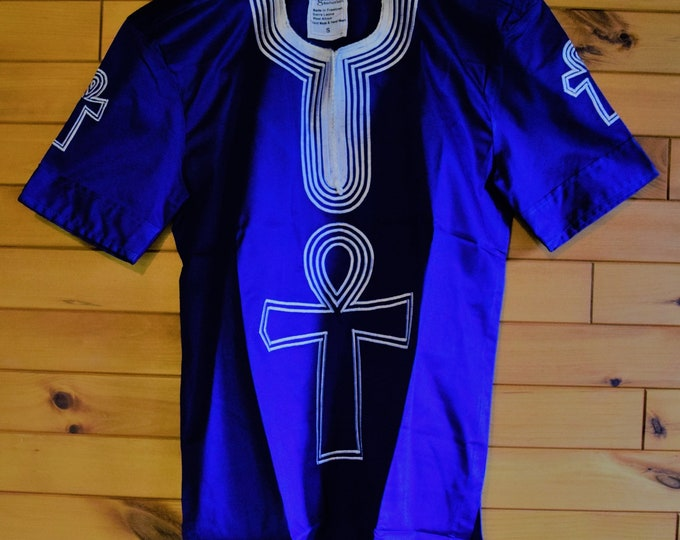 Royal Blue Embroidery Men's Shirts Infinity Design Balance Dress Shirt.