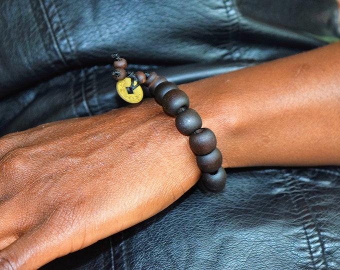 African Coffee Bean Bracelet, Beaded Seashell bracelet.