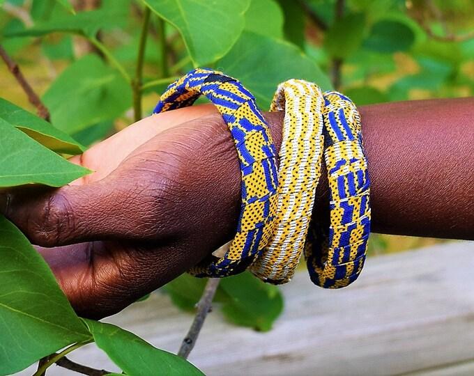 Wrap Bangles Two In Set, African Print Wrap Bracelet.