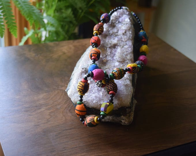 Cloth beaded choker and matching bracelet, multicolour
