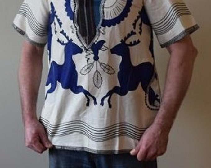 Dashiki Man's Shirt, Handmade Shirt.