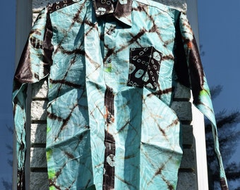 Classic Dress Shirt African Men's Shirt, Bazin Wax shirt, Men's Shirt