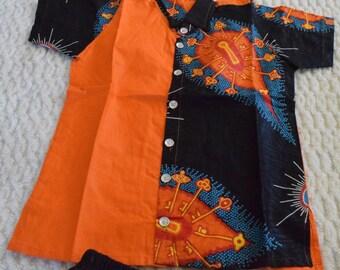 Ankara Children's Fashion, Young Men Dashiki Suit.