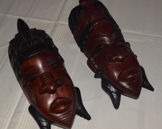 African Masks, King And Queen, Traditional Cultural Masks King Queen.