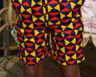 Unisex Ankara Print Shorts, Young Girl & Boy Shorts.